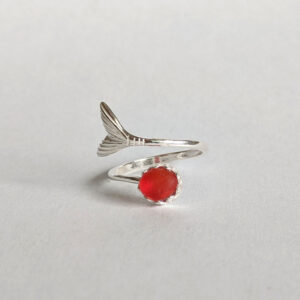 Mermaid Tail Ring with Red Sea Glass