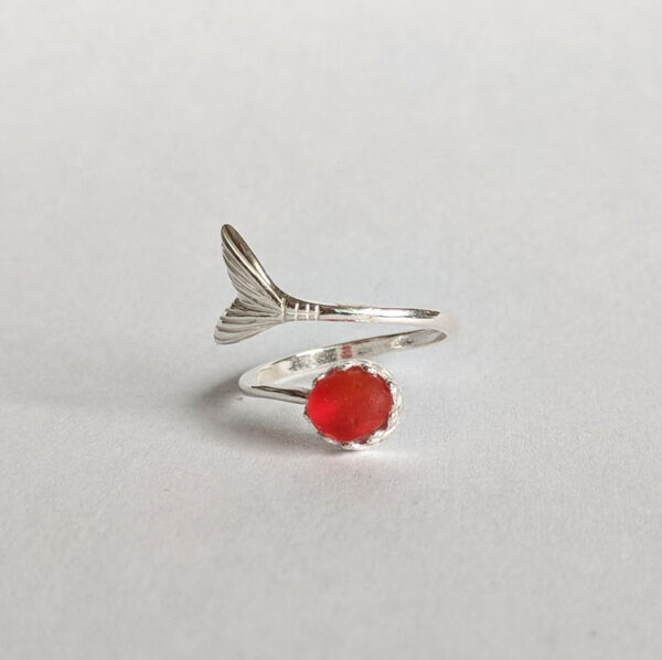 Red Sea Glass Mermaid Tail Ring