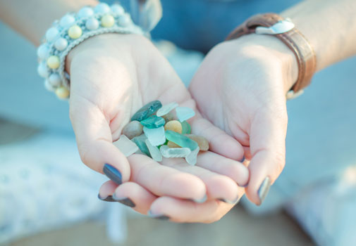 Sea glass in hands