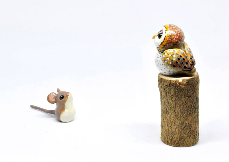 Polymer clay mouse and owl